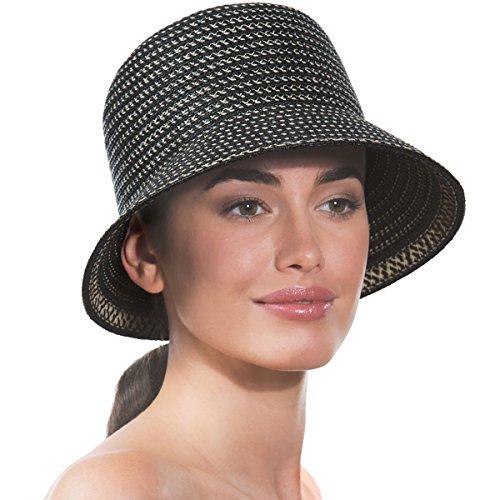 Eric Javits Luxury Fashion Designer Women's Hat - Squishee Bucket - Black Mix by Eric Javits