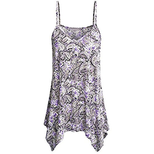 FEITONG Womens Print Handkerchief Hem Flowy Top Casual Summer Spaghetti Strap Camisoles Tank Blouse (Large, White)