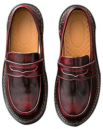 Women's Casual Genuine Leather Penny Loafers Driving Moccasins Slip-On Boat Flats Shoes (US 6.5, red) ()