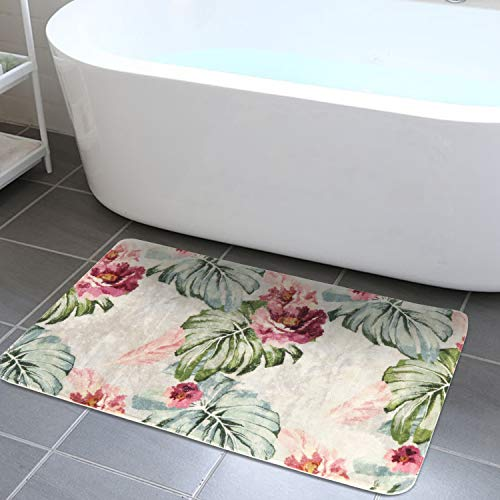 HAOCOO Bathroom Rugs 18x25 inch Palm Leaves Flowers Velvet Bath Mat Non-Slip Door Carpet Soft Luxury Microfiber Machine-Washable Floor Rug for Doormats Tub - 25 Flower Inch