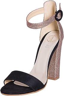Chaussures pour Femme en Ligne. Taille 37. Chaussures en Daim Noir et empiècements en Daim laminé. Viande et Ceinture à la Cheville. Fabriquées en Italie.