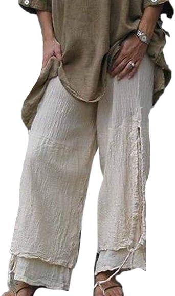 Pantalones De Lino Etnicos Vintage Para Mujer Dobladillo Con Cordon Pantalones Anchos Pantalones Casuales Tallas Grandes Amazon Es Ropa Y Accesorios