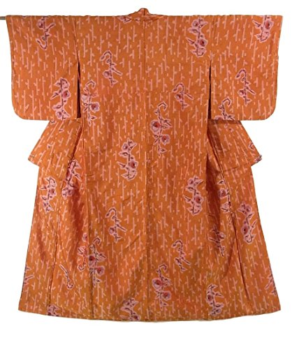 アンティーク 着物 銘仙 小枝に花模様 正絹 袷 裄62.5cm 身丈153cm