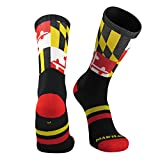 TCK Maryland Flag Crew Socks, Black, Small