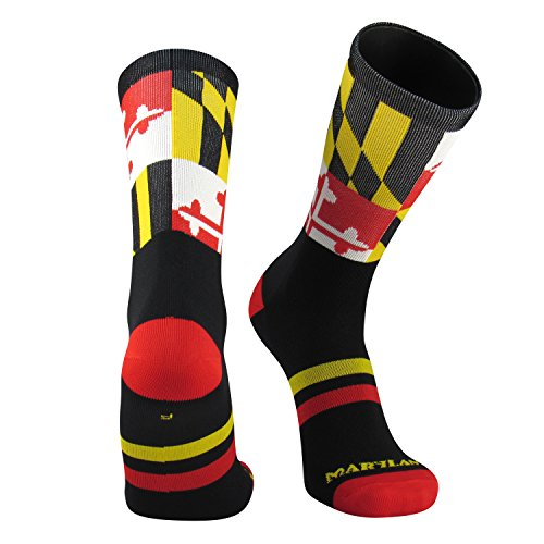 TCK Maryland Flag Crew Socks, Black, Medium