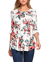 Meaneor Women Floral Hi-Low Ruffle Hem Blouse Bell Sleeve Casual Loose Tunic Top Shirts