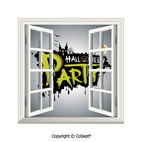 (SCOXIXI Artificial Window Wall Applique Landscape Wall Decoration,Halloween Party Hand Drawn Brushstrokes Artistic Design Grunge Cartoon,Window Decorative Decals Interior(25.86x22.63)
