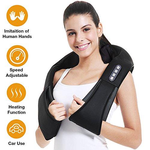 Shiatsu Neck Massager - Back and Neck Massager with Heat Deep Tissue Kneading, Unique Massager Node Design, Speed Adjustable Back Massager for Neck, Back, Shoulder, Use at Home, Car, Office