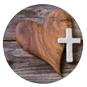 alfombrilla de ratón Tarjeta trauerkarte o simpatía con la cruz y corazón de madera - ronda - 20cm