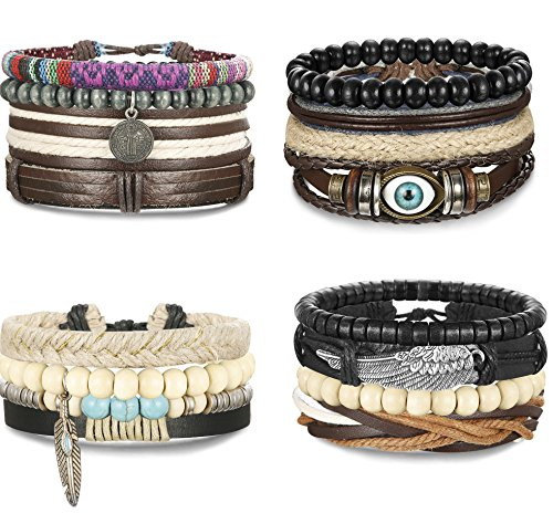 FIBO STEEL 15-16 Pcs Braided Leather Bracelets for Men Women Woven Cuff Bracelet Adjustable,FS