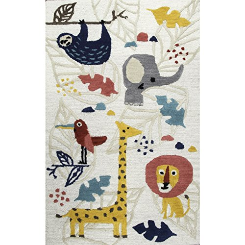 Whimsical Hand Tufted Animal Kingdom Patterned Wool Area Rug, Vibrant Bold Safari Animals Themed, Rectangle Indoor Living Area Kids Bedroom Playroom Carpet, Modern Style, Yellow, Maroon Size 3' x 5'