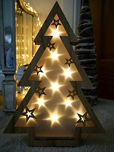 garden mile rustic 40cm light up battery operated wooden table top