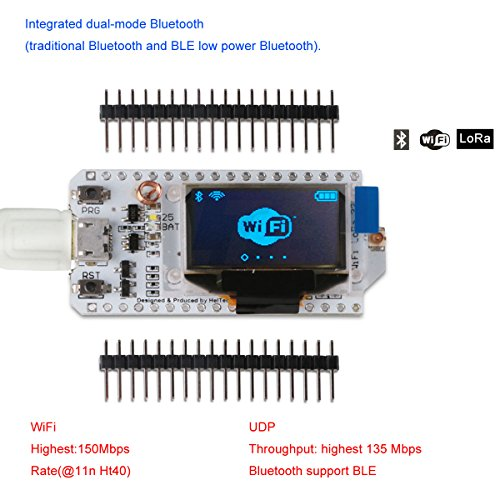 MakerFocus ESP32 Development Board WIFI Bluetooth LoRa Dual Core 240MHz CP2102 with 0.96inch OLED Display and 868/915MHZ Antenna for Arduino by MakerFocus (Image #2)