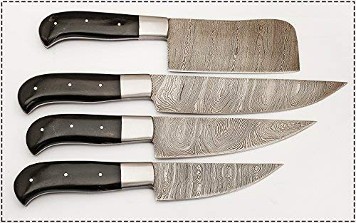 Hand Made Beautiful Ture Damascus Steel Kitchen Chef Knife Set-4-piece-bc-105-bh