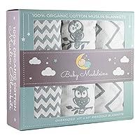 Premium Organic Cotton Baby Swaddle Blankets, Large 47 x 47 inch Muslin Swadd...