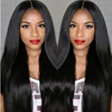 A2ZWIG Brazilian Virgin Full Lace/Lace Front Human Hair Glueless Natural Black Straight Wigs with Baby Hair for Black Women (16 Inch, Lace Front Wigs)