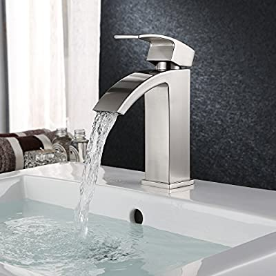 Homitex Bathroom Faucet Single Handle Contemporary Vanity Sink Faucet Waterfall Lavatory Faucet with Extra Large Rectangular Spout,Brushed Nickel