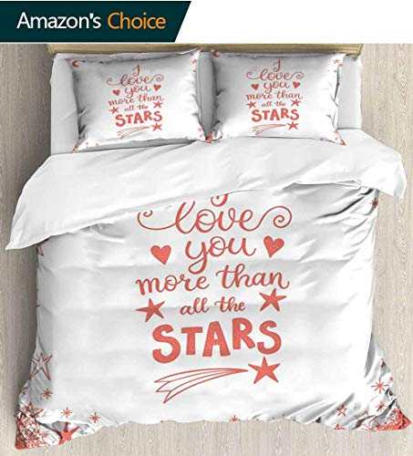 I Love You More 3 PCS King Size Comforter Set,Quote of Infatuation Surrounded by Stars Scribble Art for Valentines Decorative 3 Piece Bedding Set with 2 Pillow Sham 68