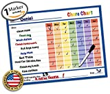 "Reward Chart - Behavior Chart - Chore Chart - Goal Setting Chart - Responsibility Chart - Dry Erase Sticker - Non Magnetic Classroom & Home Teaching Resource - Goal Setting 14.5"" x 11"" inch (Blue)"