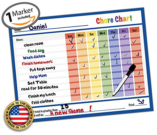 Reward Chart - Behavior Chart - Chore Chart - Goal Setting Chart - Responsibility Chart - Dry Erase Sticker - Non Magnetic Classroom & Home Teaching Resource - Goal Setting 14.5