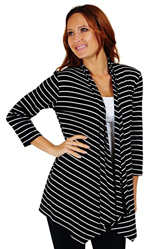 Simply Ravishing SR Women's Basic 3/4 Sleeve Stripe Open Cardigan (Size: Small-5X), 5X, Black/Ivory