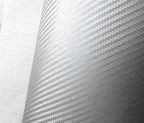 """12"""" X 78"""" Silver Carbon Fiber 3D Professional Grade Wrap Vinyl Film Sheet-hq"""