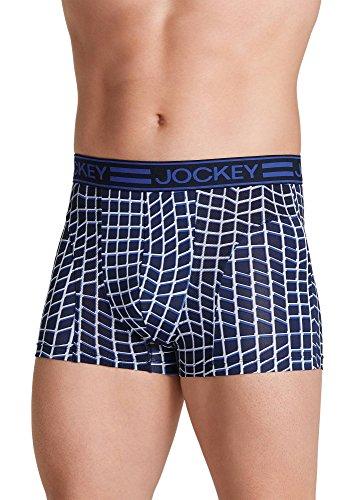 Jockey Men's Underwear Sport Cooling Mesh Performance Trunk, Navy Grid, M