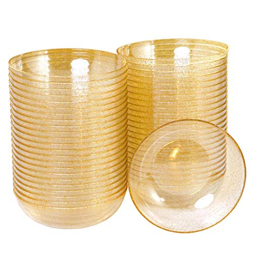 BUCLA 50 pack 16oz Gold Glitter Plastic Bowls-Disposable Crystal Plastic Bowls- Premium Heavy Duty Clear Dessert Bowls for Wedding &Parties