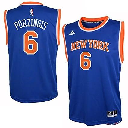 Kristaps Porzingis New York Knicks Youth Blue Jersey Medium 10-12 ...