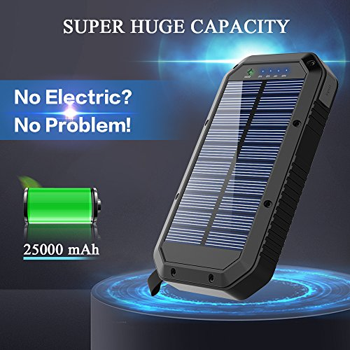 Solar Charger, Ayyie 25000mAh Solar Power Bank, 3-Port