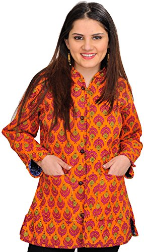 Exotic India Sun-Orange Block Printed Reversible Jacket Size - Of Orange Ca Block Orange The