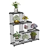 JYYG Portable Plant Stands Custom Shaped Succulents Pot Shelf Standing Baker's Racks for Flowers Metal Shelving Unit for Green House Indoor Outdoor Multifunction Storage Organizer (6(Large) Grids)