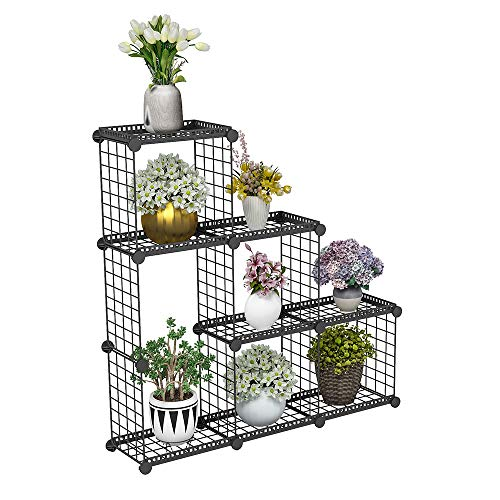 (JYYG Portable Plant Stands Custom Shaped Succulents Pot Shelf Standing Baker's Racks for Flowers Metal Shelving Unit for Green House Indoor Outdoor Multifunction Storage Organizer (6(Large) Grids) )