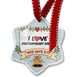 Add Your Own Custom Name, I Love Contemporary Dance Christmas Ornament NEONBLOND