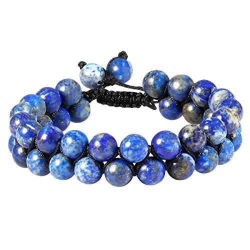 - TUMBEELLUWA Beaded Bracelet Stone 8mm Double Layers Adjustable Meditation Power Healing Crystal Bracelets,Lapis Lazuli