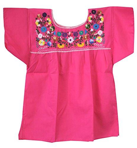 Liliana Cruz Mexican Peasant Puebla Blouse, Hot Pink, - Peasant Blouse Pink