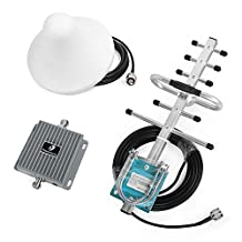 Phonetone 65dB Dual Band Amplifier 850MHz 1700MHz Boost 3G 4G Band 5 Band 4 LTE Cell Phone Booster Kit Mobile Signal Repeater With Indoor Omni Ceiling Antennas Kit For Home and Office