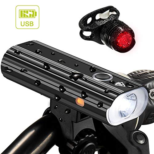Nestling 1200 Lumen Rechargeable Bike Lights Front and Back - Ultra Bright Bicycle Headlight and Taillight Set, Quick Release Cycling Flashlight,5 Light Mode Fits All Bicycles, Road, Mountain