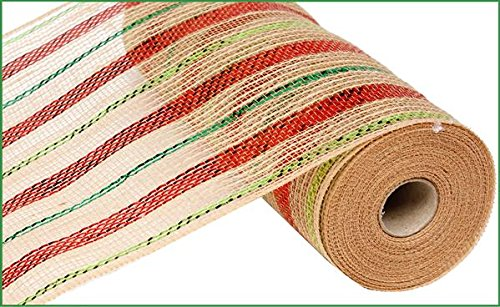 Christmas Mesh | 10 inch x 30 feet Poly Jute Metallic Ribbon Red Lime Emerald Green : RY800945