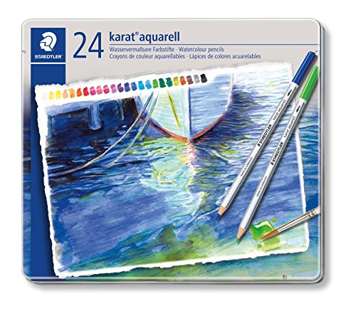 Pencil Aquarelle Set - Staedtler Karat Aquarell Premium Watercolor Pencils, Set of 24 Colors (125M24)