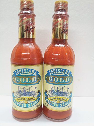 Louisiana Gold Horseradish Pepper Sauce 5 fl. oz. (Pack of 2) - Louisiana Gold Red Pepper