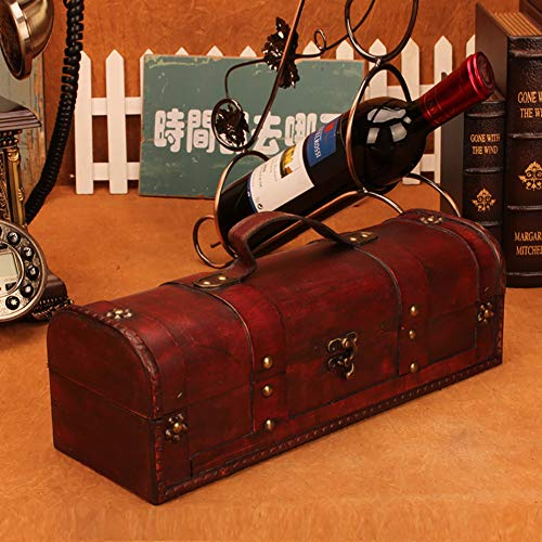 1 Bottle Wooden Red Wine Box Anniversary Ceremony Couples Wedding Wine Gift Box Holder Vintage Wine Case With Handle Wood and Faux Leather Antique Finish by Meltset (Image #3)