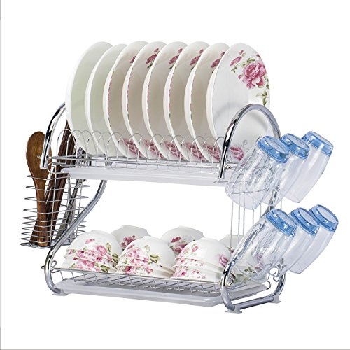 WORTOOL Dish Drying Rack 2 Tier Dish Rack and Drain Board, 21 inch 'S' Shape Double Draining Tray Design Effectively Prevent Cross-Contamination.