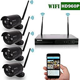 OOSSXX 8-Channel HD 1080P Wireless Network/IP Security Camera System(IP Wireless WIFI NVR Kits),4Pcs 2.0 Megapixel Wireless Indoor/Outdoor IR Bullet IP Cameras,P2P,App, No HDD