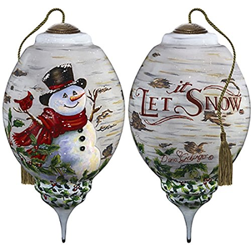 (Ne'Qwa Art Hand Painted Blown Glass Winter Birch Snowman Ornament,)