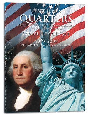 1999 - 2009 Color Whitman Folder for 112-coin P&D set of State Quarter + Territory Quarters - - - (Cover Quarter Coin State)