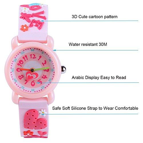 Kid Watch 3D Cute Cartoon Silicone Wristwatches Quartz Watch 30M Waterproof Time Teacher Gift for Little Girls Boy Children (Love, Pink) by Timemade (Image #2)
