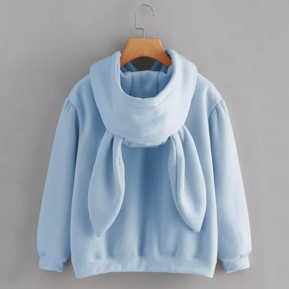 TOOPOOT Sweatshirt Hoodie, Women Cute Rabbit Hoodie Long Sleeve Pullover Crop Top Solid Blouse Pullover Blouse at Amazon Womens Clothing store: