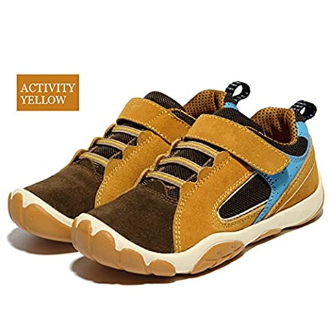 Boy's Leather Casual Outdoor Breathable Running Shoes Velcro Sneakers for 7-16Years Brown 37# (Tennis Big Time Rush)