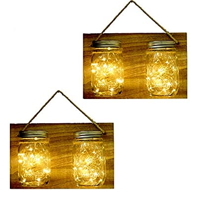 Solar Powered Mason Jar Hanging Lantern Lights,4 Pack 20 Led Fairy Firefly Jar Lights,Rustic Wooden Panel Mason Jar Sconces for Garden Wall Decor